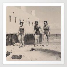 Three Girls on the Beach Art Print
