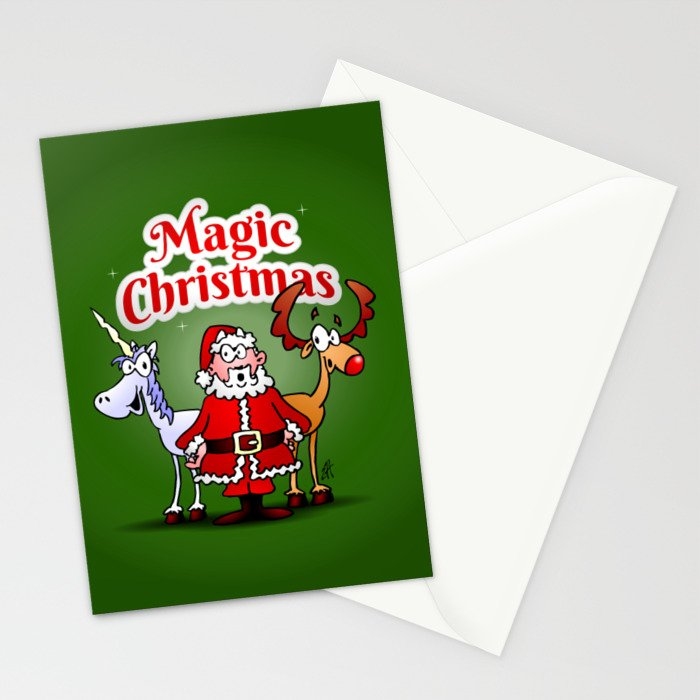 Magic Christmas with a unicorn Stationery Cards by cardvibes | Society6