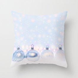 Festive Silver Christmas Balls on Snow Throw Pillow