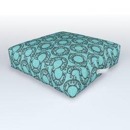 Scrolled Ringed Ikat - Aruba Blue Caviar Outdoor Floor Cushion