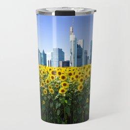 Frankfurt Germany Skyline Sunflower Field Travel Mug