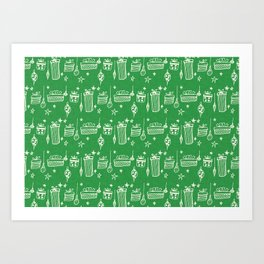 Christmas gift and ornaments Green and White Art Print