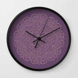 Gold/Rose Gold Mandala on Lavender background Wall Clock