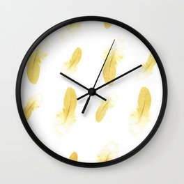 gold feather pattern Wall Clock