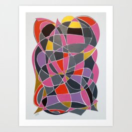 Pink, Purple and gray Heart abstract Art Print