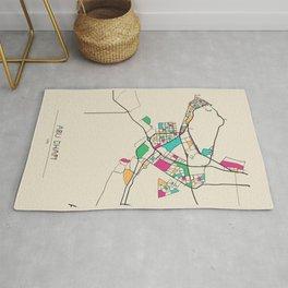 Colorful City Maps: Abu Dhabi, United Arab Emirates Rug