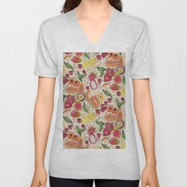 Ready to Eat - Fruit Pattern in White Unisex V-Neck