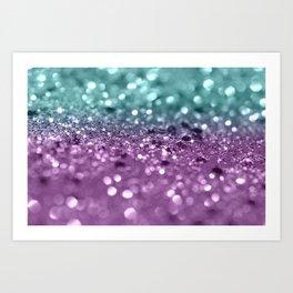 Aqua Purple MERMAID Girls Glitter #2 #shiny #decor #art #society6 Art Print