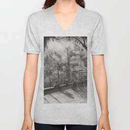 Sunrays, Morning Tea -  Charcoal Painting,Charcoal Sketch,Charcoal landscape Unisex V-Neck