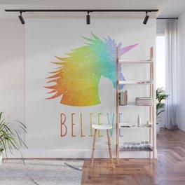 Believe  |  Rainbow Glitter Unicorn Wall Mural