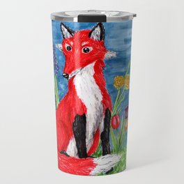 Spring Fox Surrounded by Flowers Travel Mug