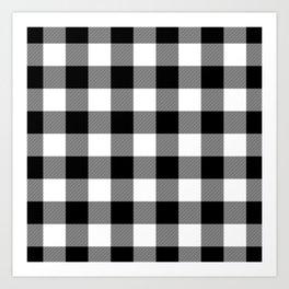 Gingham (Black/White) Art Print