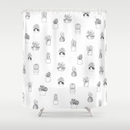Potted Cactus Pattern Black and White Shower Curtain