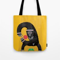 king Tote Bags featuring King Kong Ping Pong by Wharton