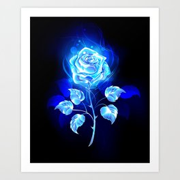 Burning Blue Rose Kunstdrucke