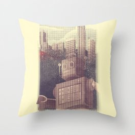 A City Snow-Bot Throw Pillow
