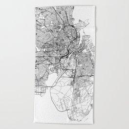 Copenhagen White Map Beach Towel