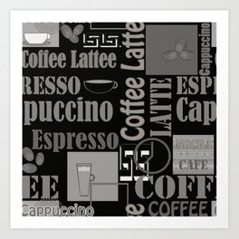Abstract pattern Coffee house cafe latte capuccino Art Print