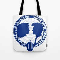 river song Tote Bags featuring Doctor Who pals: The 10th doctor & River Song by logoloco