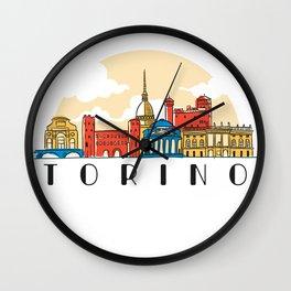 Turin skyline - Italy Wall Clock