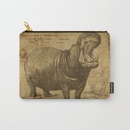 Vintage retro Hippo wildlife animal africa Carry-All Pouch