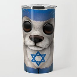 Cute Puppy Dog with flag of Israel Travel Mug