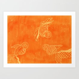 Goldfish with Pattern Art Print