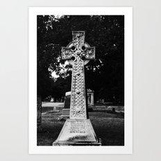 Celtic Cross B&W Art Print