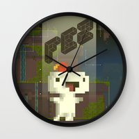 selena gomez Wall Clocks featuring FEZ: Gomez by Retro Zombie