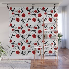 Roses Barbed Wire Guns Pattern Love Is War Wall Mural