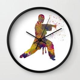 Taekwondo-karate competition in watercolors 07 Wall Clock