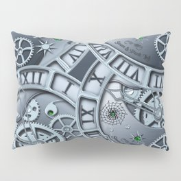 Steampunk clock silver Pillow Sham