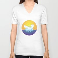 iceland V-neck T-shirts featuring Tropical Iceland by Otto Brittain