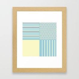 Summer Blues and Yellow Multi Pattern Design Framed Art Print