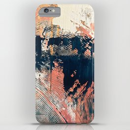 Hidden Gem [1]: an abstract mixed media piece in pink, blue, gold and white iPhone Case