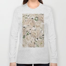 Peonies Pattern Long Sleeve T-shirt