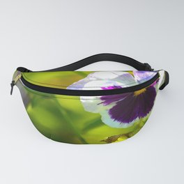 Beautiful Pansy Natural Green Background Fanny Pack