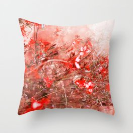 Bright Coral Floral Throw Pillow