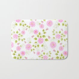 Pink flowers on a white background Bath Mat