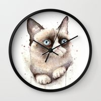 grumpy Wall Clocks featuring Grumpy Watercolor Cat by Olechka