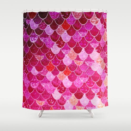 pink mermaid shower curtainmonika strigel | society6