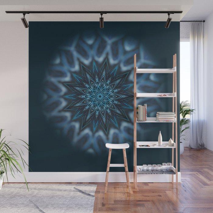 Blue Ice Swirl mandala Wall Mural