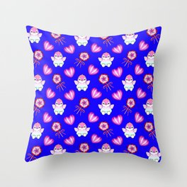 Lovely cute happy baby penguins with flapping wings, retro vintage lollipops and sweet candy hearts Throw Pillow