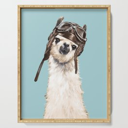 Cool Pilot Llama in Blue Serving Tray