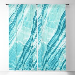 Abstract Marble - Teal Turquoise Blackout Curtain