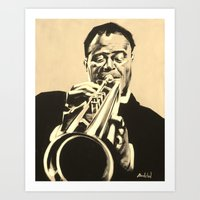 louis armstrong Art Prints featuring Louis Armstrong by Anthony Bordelon