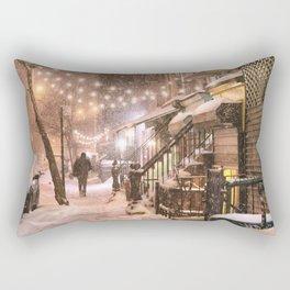 Snow - New York City - East Village Rectangular Pillow