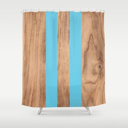 Striped Wood Grain Design - Light Blue #807 Shower Curtain