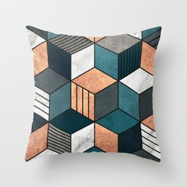 Copper, Marble and Concrete Cubes 2 with Blue Throw Pillow
