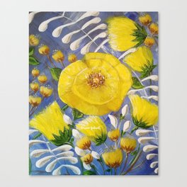 Yellow Bloom, Yellow Abstract Flowers, Yellow and Blue, Floral Prints, Modern Floral Canvas Print